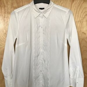 Ann Taylor White Scalloped Ruffled Button Down